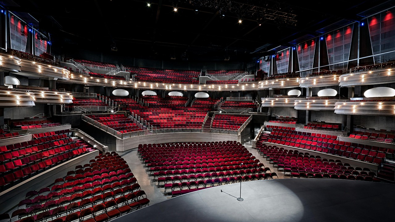 View of the seating in pearl theater from the stage